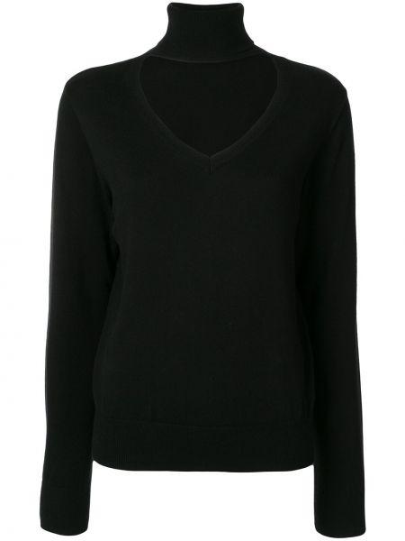 Шерстяной черный свитер с воротником в рубчик G.v.g.v.