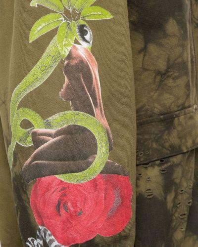 Zielona bluza długa z kapturem z długimi rękawami Alchemist