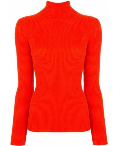 Прямой красный шерстяной джемпер с длинными рукавами Paule Ka