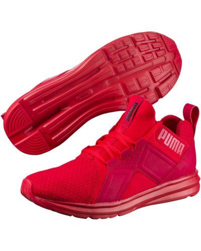 Красные тренировочные высокие кроссовки для бега с сеткой Puma