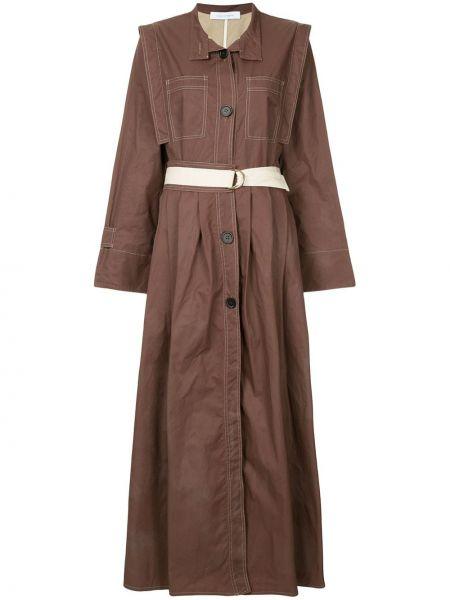 Коричневое нейлоновое платье миди на пуговицах с вырезом Walk Of Shame