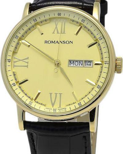 Часы водонепроницаемые с кожаным ремешком деловые Romanson