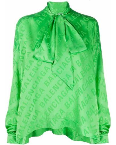Jedwab zielony sweter Balenciaga