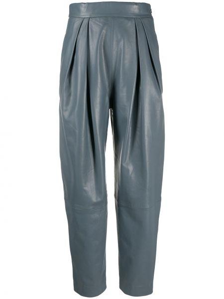 Брючные серые брюки с карманами с высокой посадкой Alberta Ferretti