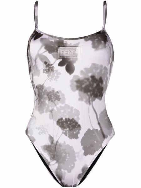 Biały strój kąpielowy w kwiaty z printem Fendi