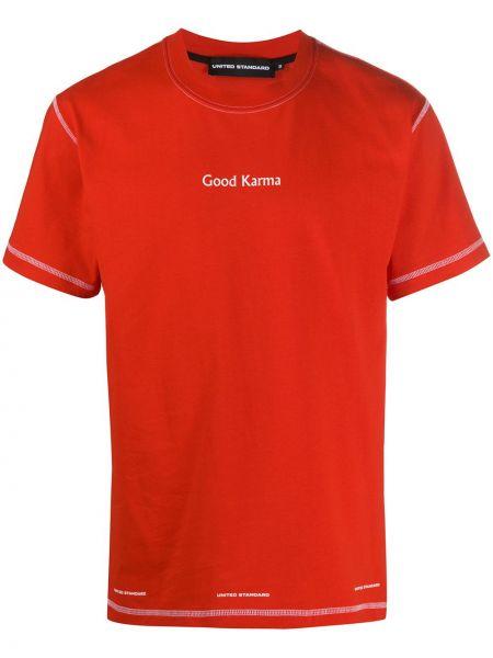 С рукавами красная хлопковая футболка в рубчик United Standard