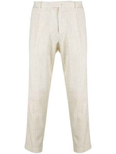 Бежевые брючные льняные брюки с поясом Dell'oglio