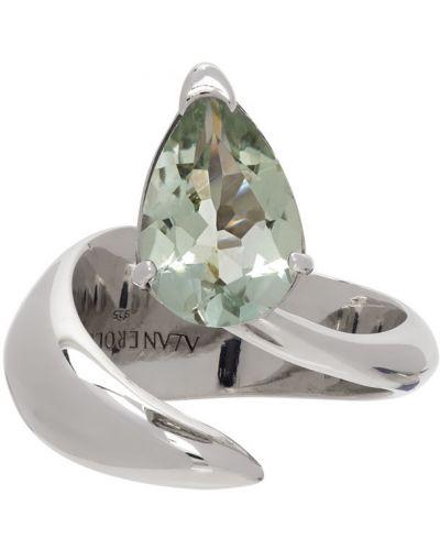 Zielony pierścionek ametyst srebrny Alan Crocetti