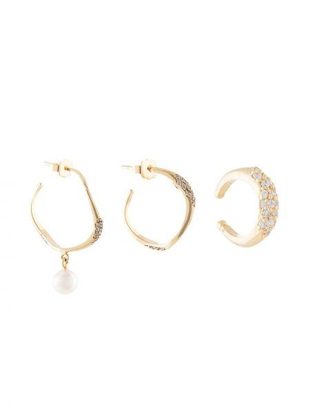 Złote kolczyki sztyfty perły Joanna Laura Constantine