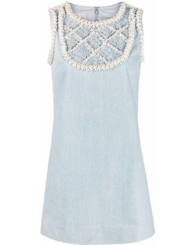 Niebieska sukienka jeansowa bawełniana bez rękawów Edward Achour Paris