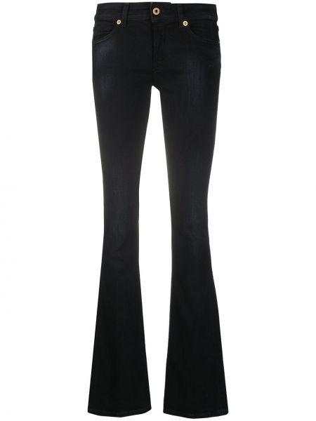 Хлопковые черные расклешенные джинсы стрейч с заплатками Dondup