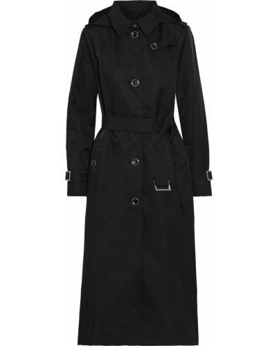 Czarny płaszcz z kapturem zapinane na guziki Dkny