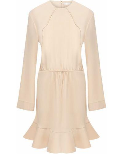 Платье с оборками бежевое Chloé