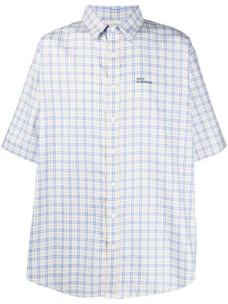 Niebieska koszula krótki rękaw bawełniana Drole De Monsieur