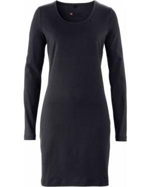 Джинсовое платье с поясом с вырезом Bonprix