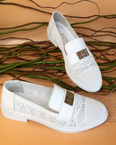 Мокасины сетчатые - белые Rovigo