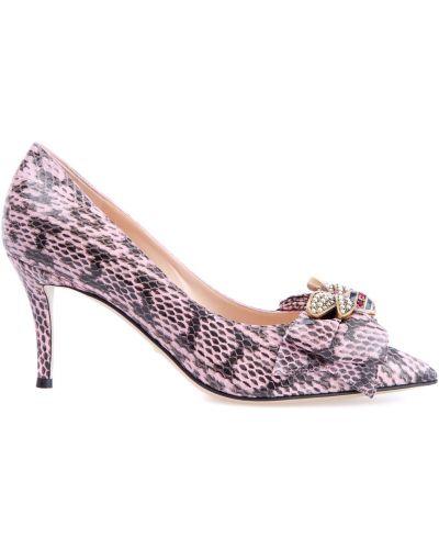 Туфли на каблуке кожаные с бантом Gucci