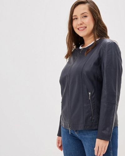 Кожаная куртка весенняя синий Ulla Popken
