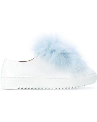 Кожаные кроссовки с мехом на шнуровке Mr & Mrs Italy