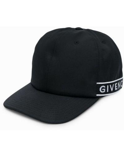 Czarna czapka na rzepy w paski Givenchy
