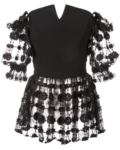 Блузка с короткими рукавами - черная Christian Siriano