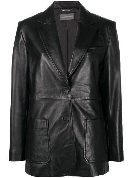 Кожаный черный прямой пиджак с карманами Alberta Ferretti
