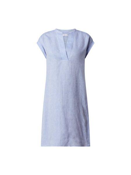Niebieska sukienka mini rozkloszowana krótki rękaw Seidensticker