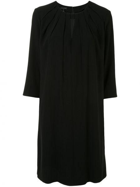 Шелковое черное платье с вырезом трапеция Escada