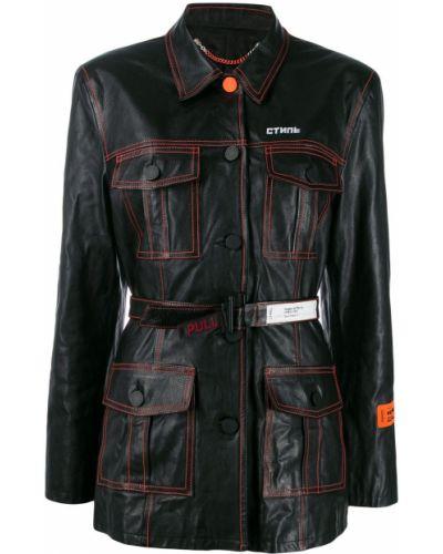 Черное кожаное пальто классическое с воротником Heron Preston