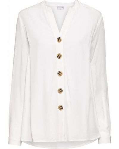 С рукавами белая блузка оверсайз Bonprix