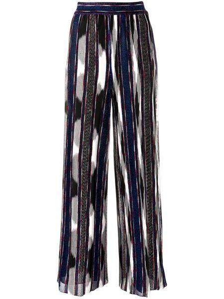 Синие с завышенной талией брюки в полоску Missoni