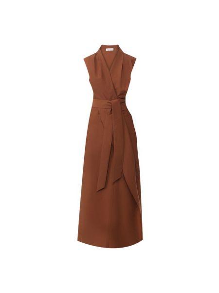 Платье с поясом шелковое с воротником Brunello Cucinelli