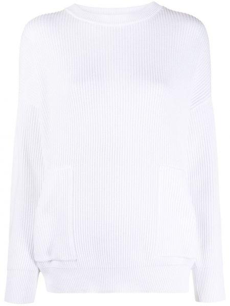 Biały z rękawami kaszmir długi sweter z kieszeniami Brunello Cucinelli
