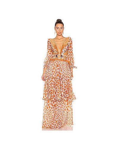 Оранжевое акриловое платье макси с бахромой на шнуровке Patbo