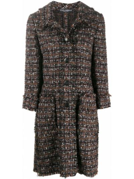 Коричневое шерстяное пальто классическое с воротником на пуговицах Dolce & Gabbana