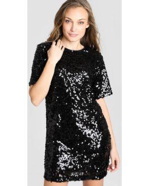 Черное прямое платье мини с пайетками с вырезом Ostin