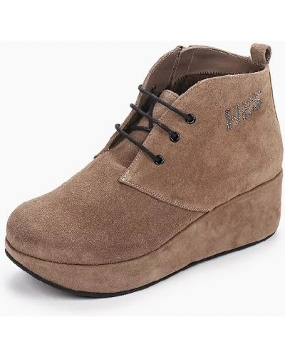 Бежевые кожаные ботинки на шнуровке Hestrend