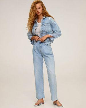 Классическая синяя джинсовая куртка с манжетами с воротником Mango