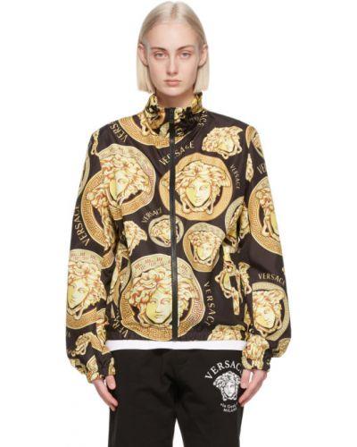 С рукавами желтая длинная куртка с воротником Versace