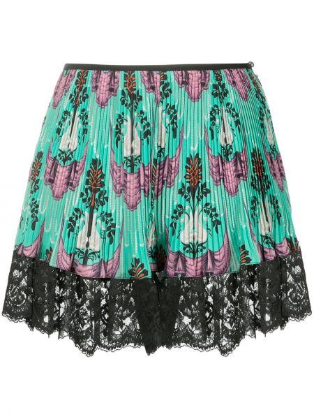 Ажурная плиссированная черная юбка мини Paco Rabanne
