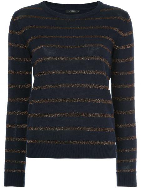 Czarny sweter w paski z akrylu Loveless