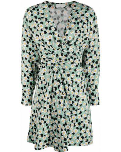 Прямое зеленое платье мини в горошек Sandro Paris