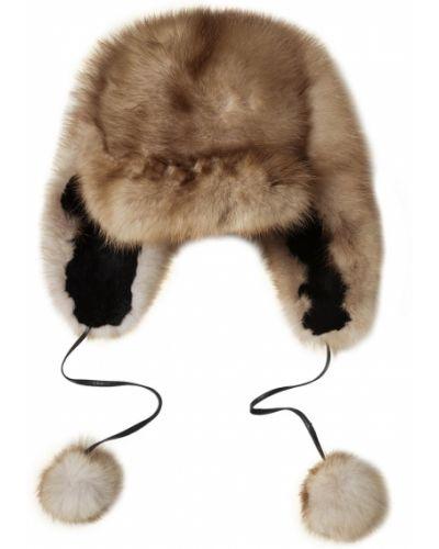Вязаная шапка с помпоном шапка-ушанка Dreamfur