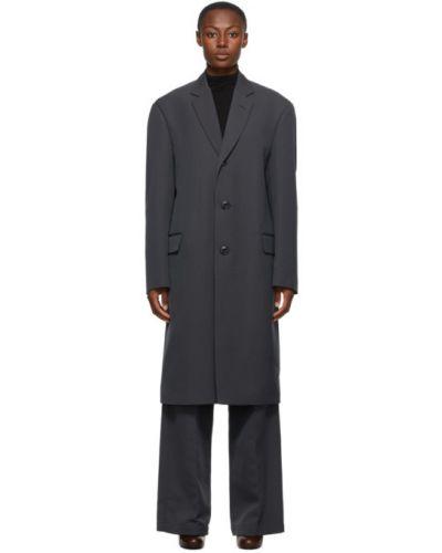 Ciemno szary kostium garnitur z klapami z kołnierzem Lemaire