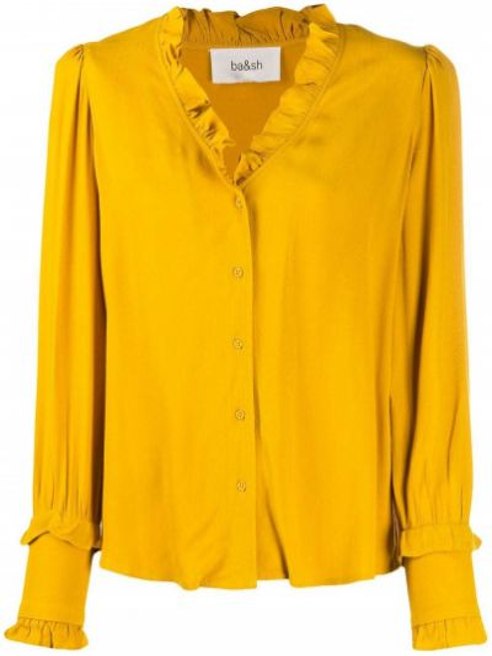 Желтая блузка с длинным рукавом с оборками с V-образным вырезом на пуговицах Ba&sh