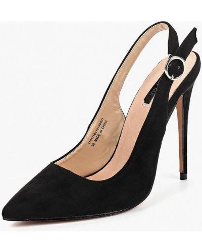 Туфли на каблуке с открытой пяткой замшевые Lost Ink.