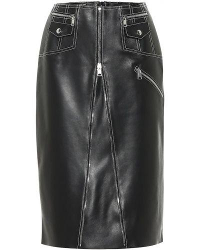 Черная кожаная юбка миди на молнии Alexander Mcqueen