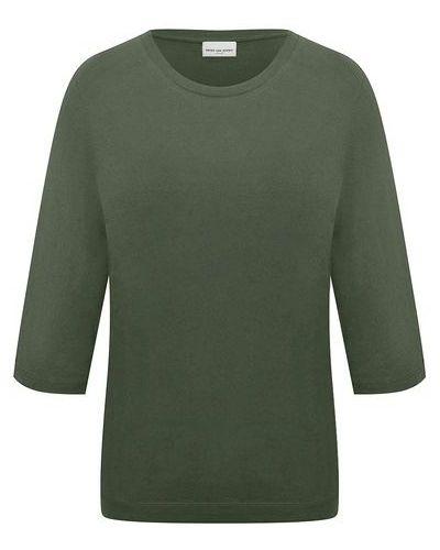 Хлопковая футболка хаки Dries Van Noten