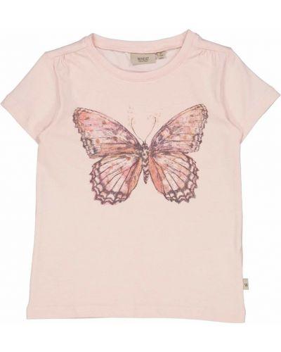 Różowa koszulka z printem Wheat