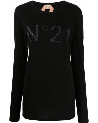Хлопковая черная футболка с длинными рукавами N21
